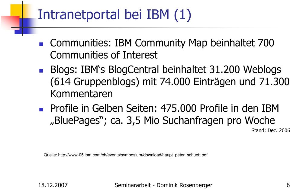 300 Kommentaren Profile in Gelben Seiten: 475.000 Profile in den IBM BluePages ; ca.