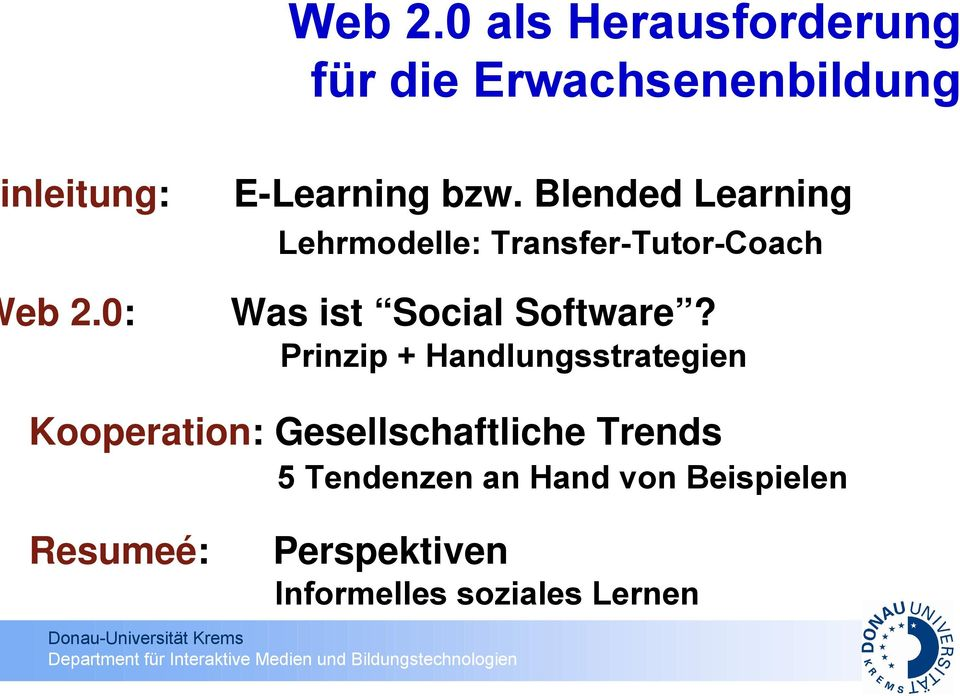 Blended Learning Lehrmodelle: Transfer-Tutor-Coach 0: Was ist Social Software?