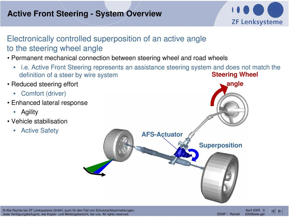 represents an assistance steering system and does not match the definition of a steer by wire system Reduced steering effort