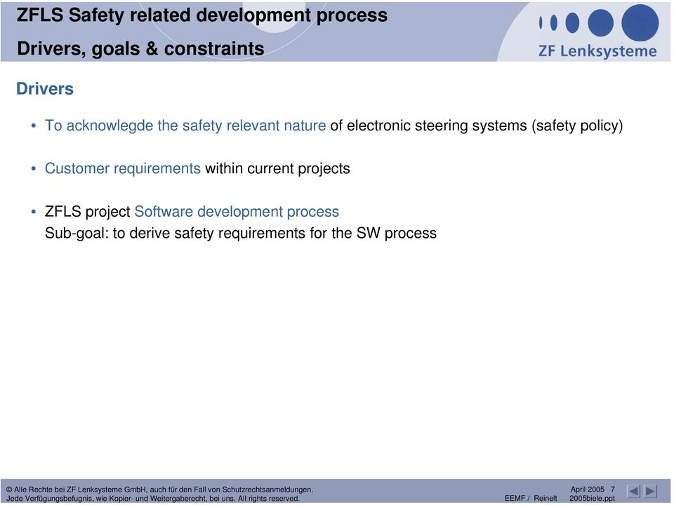 (safety policy) Customer requirements within current projects ZFLS project