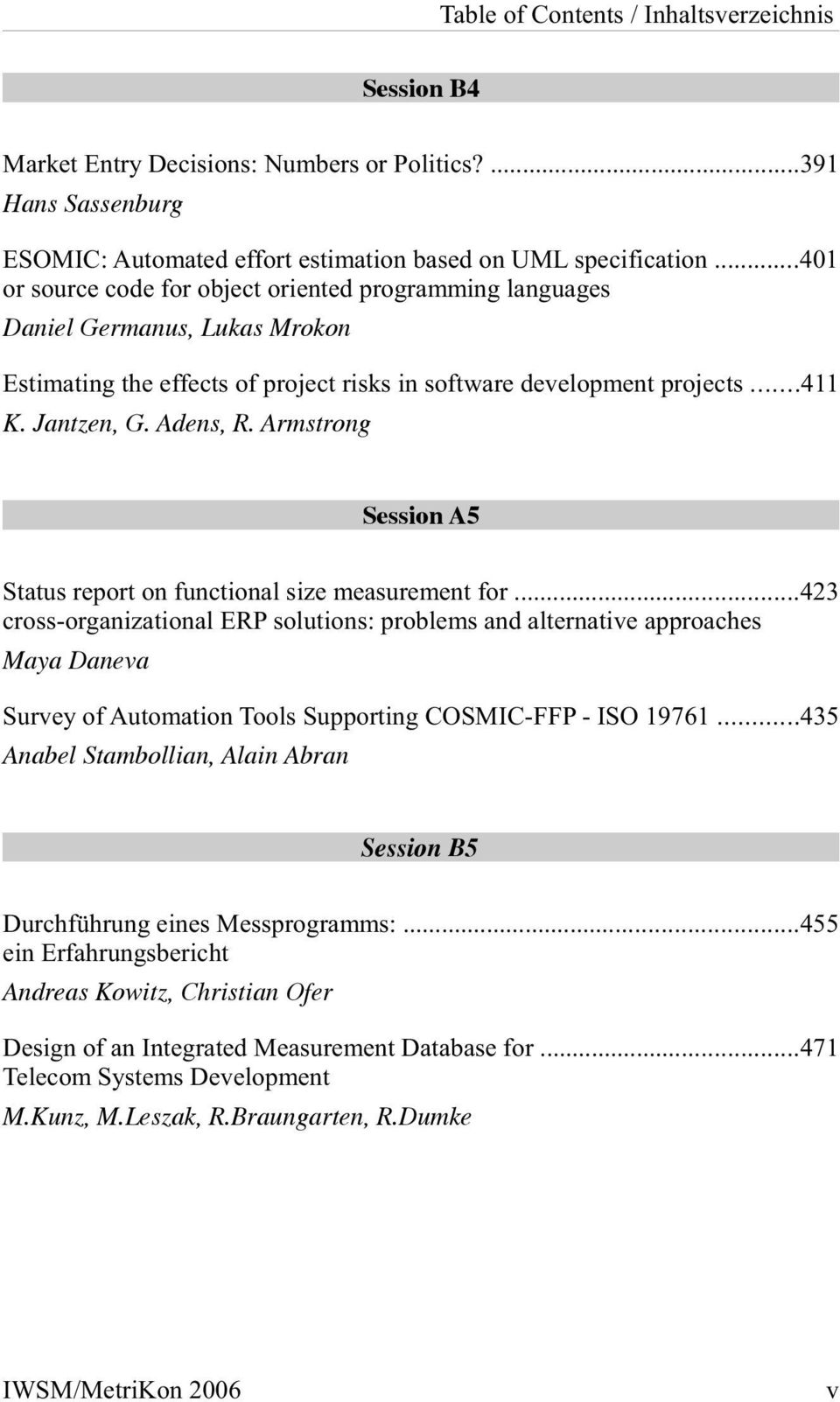Armstrong Session A5 Status report on functional size measurement for.