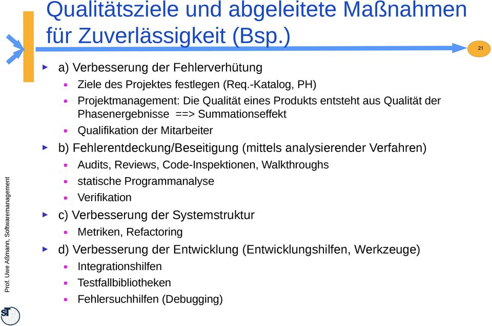 Fehlerentdeckung/Beseitigung (mittels analysierender Verfahren) Audits, Reviews, Code-Inspektionen, Walkthroughs statische Programmanalyse Verifikation c)