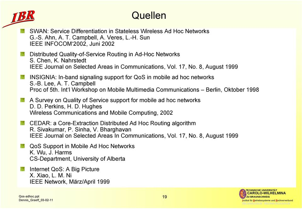 8, August 1999 INSIGNIA: In-band signaling support for QoS in mobile ad hoc networks S.-B. Lee, A. T. Campbell Proc of 5th.