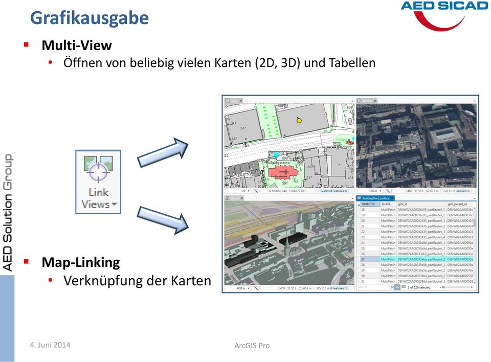3D) und Tabellen Map-Linking