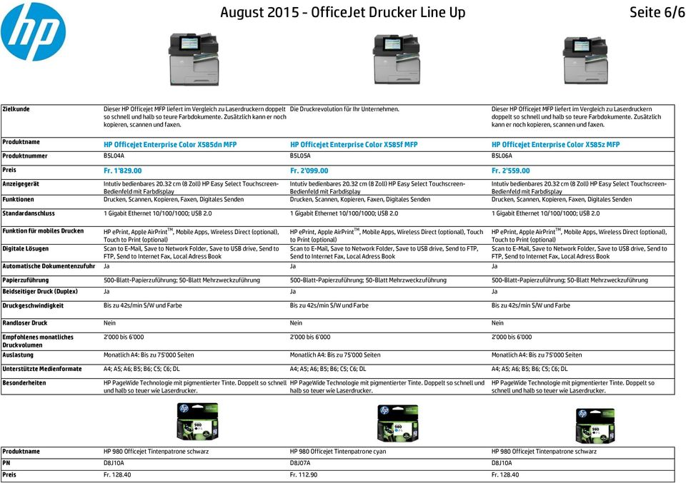 Dieser HP Officejet MFP liefert im Vergleich zu Laserdruckern doppelt  HP Officejet Enterprise Color X585dn MFP HP Officejet Enterprise Color X585f MFP HP Officejet Enterprise Color X585z MFP
