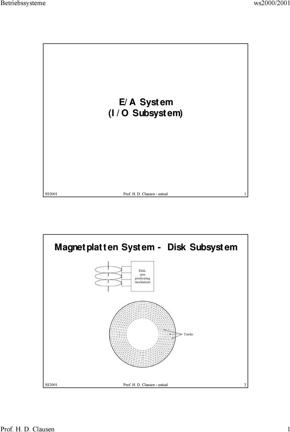 System - Disk Subsystem SS2001 Prof. H.