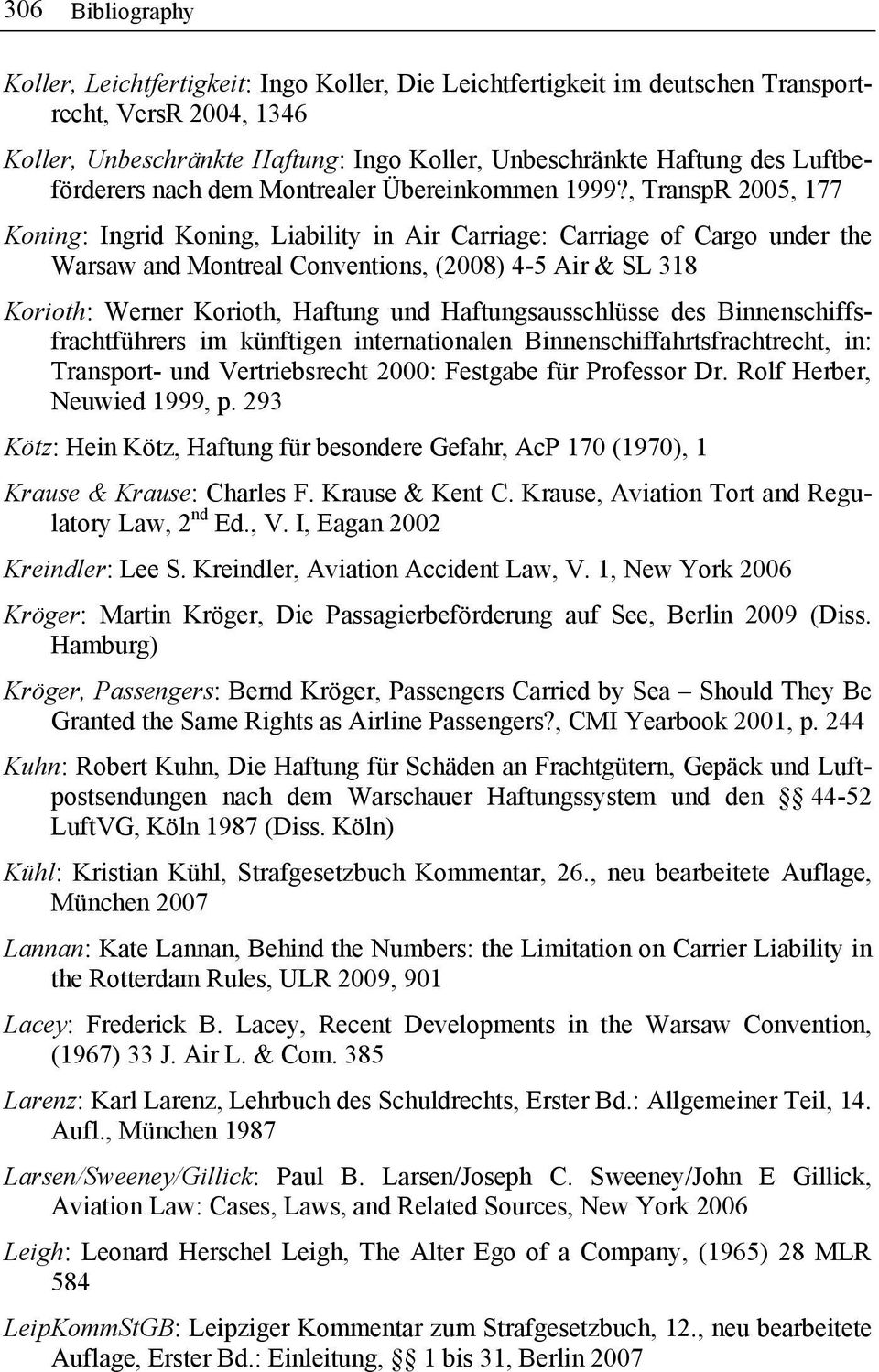 , TranspR 2005, 177 Koning: Ingrid Koning, Liability in Air Carriage: Carriage of Cargo under the Warsaw and Montreal Conventions, (2008) 4-5 Air & SL 318 Korioth: Werner Korioth, Haftung und