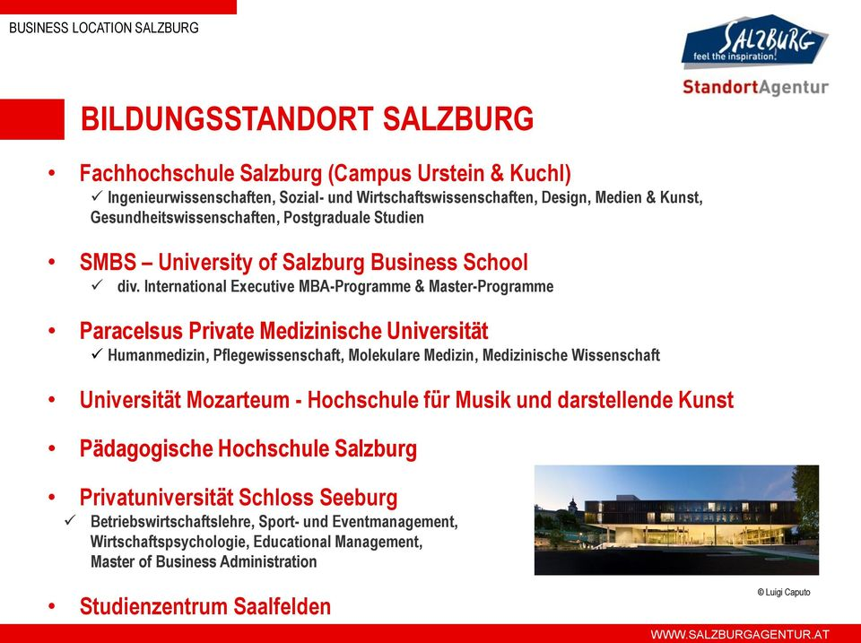 International Executive MBA-Programme & Master-Programme Paracelsus Private Medizinische Universität Humanmedizin, Pflegewissenschaft, Molekulare Medizin, Medizinische Wissenschaft
