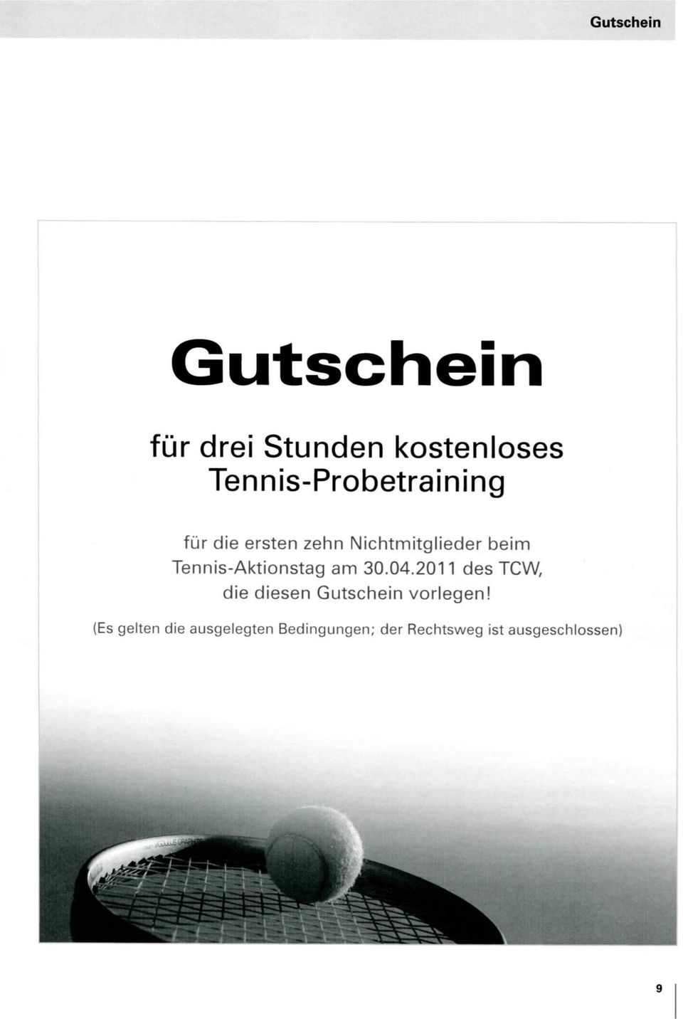 Tennis-Aktionstag am 30.04.