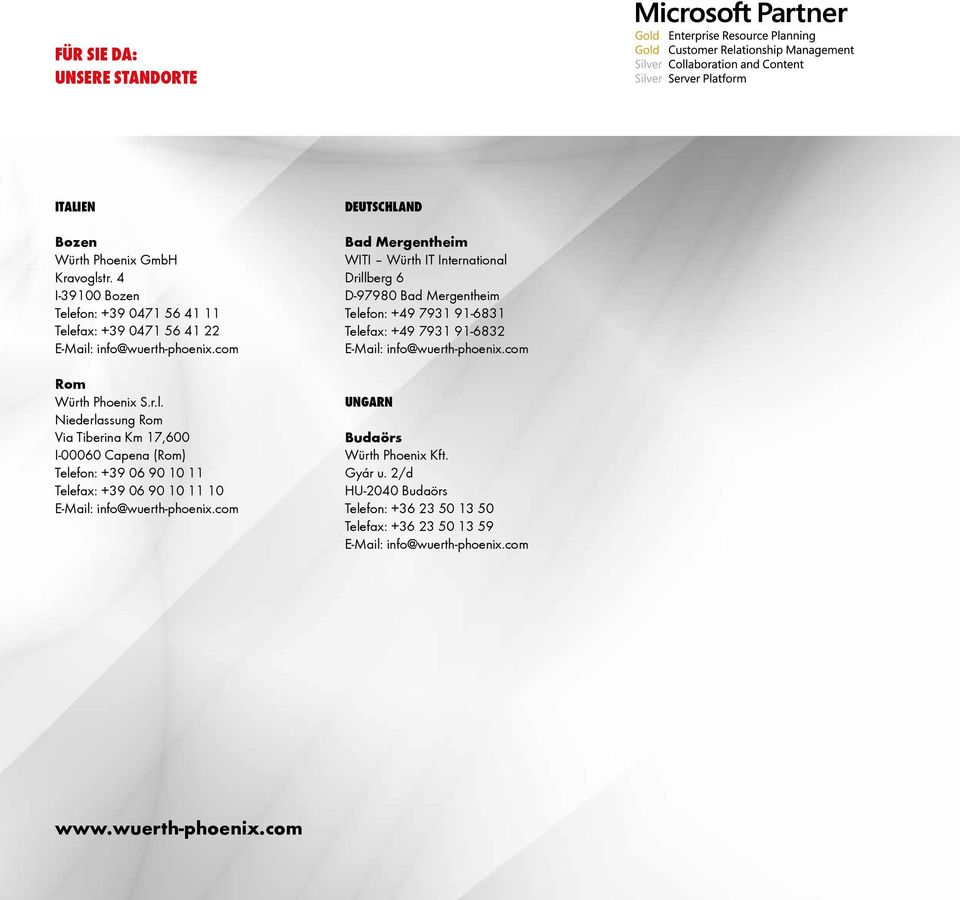 com DEUTSCHLAND Bad Mergentheim WITI Würth IT International Drillberg 6 D-97980 Bad Mergentheim Telefon: +49 7931 91-6831 Telefax: +49 7931 91-6832 E-Mail: