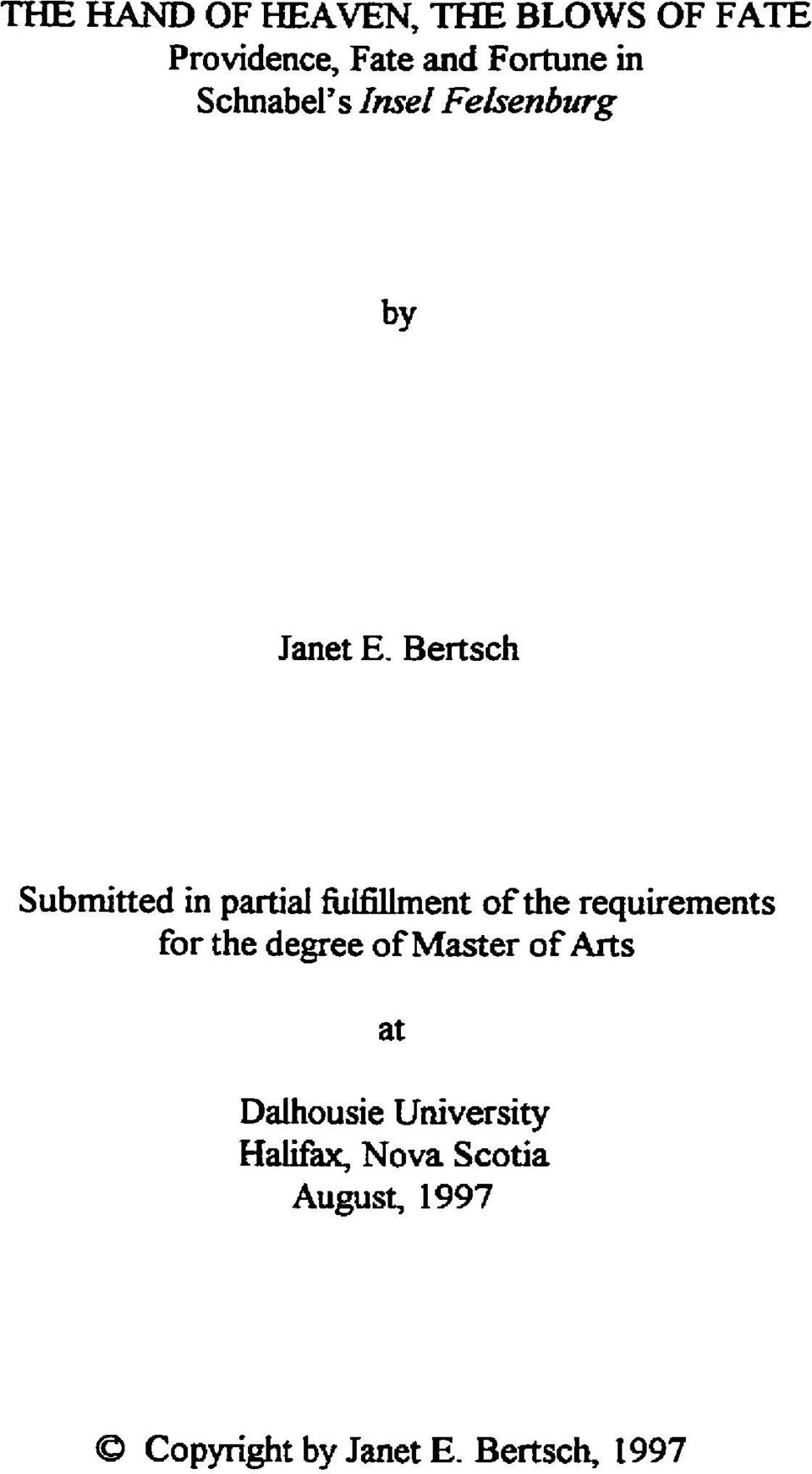 Bertsch Submitted in partial fuifiliment of the requirements for the