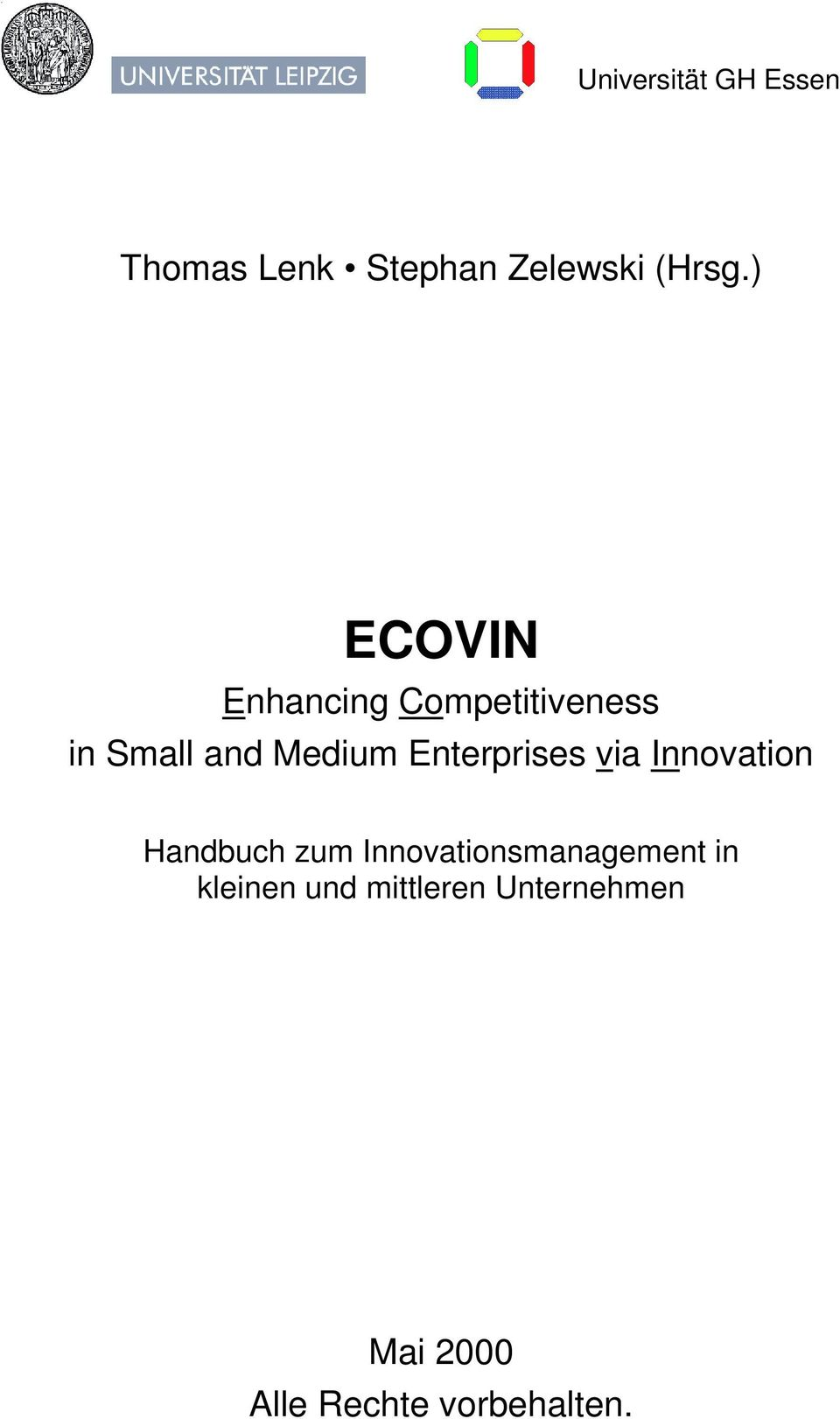 Enterprises via Innovation Handbuch zum