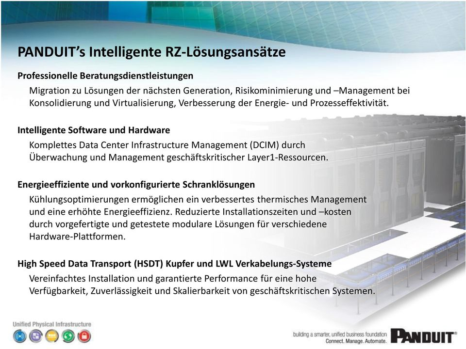 Intelligente Software und Hardware Komplettes Data Center Infrastructure Management (DCIM) durch Überwachung und Management geschäftskritischer Layer1-Ressourcen.