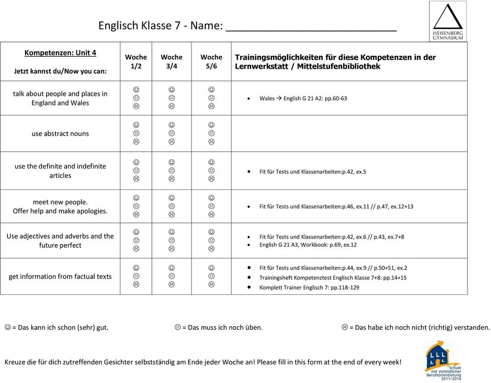 12+13 Use adjectives and adverbs and the future perfect Fit für Tests und Klassenarbeiten:p.42, ex.6 // p.43, ex.7+8 English G 21 A3, Workbook: p.69, ex.