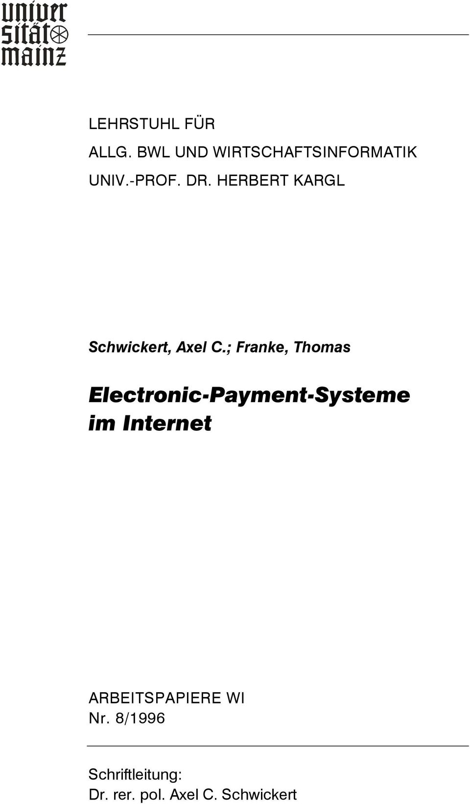 ; Franke, Thomas Electronic-Payment-Systeme im Internet