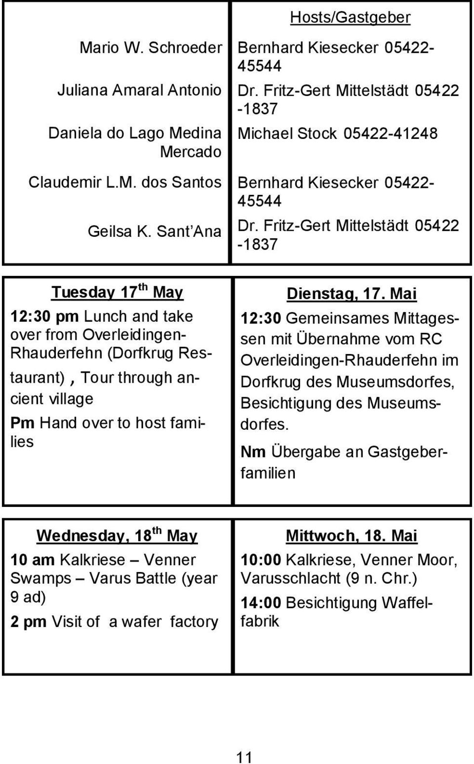 Fritz-Gert Mittelstädt 05422-1837 Tuesday 17 th May 12:30 pm Lunch and take over from Overleidingen- Rhauderfehn (Dorfkrug Restaurant), Tour through ancient village Pm Hand over to host families