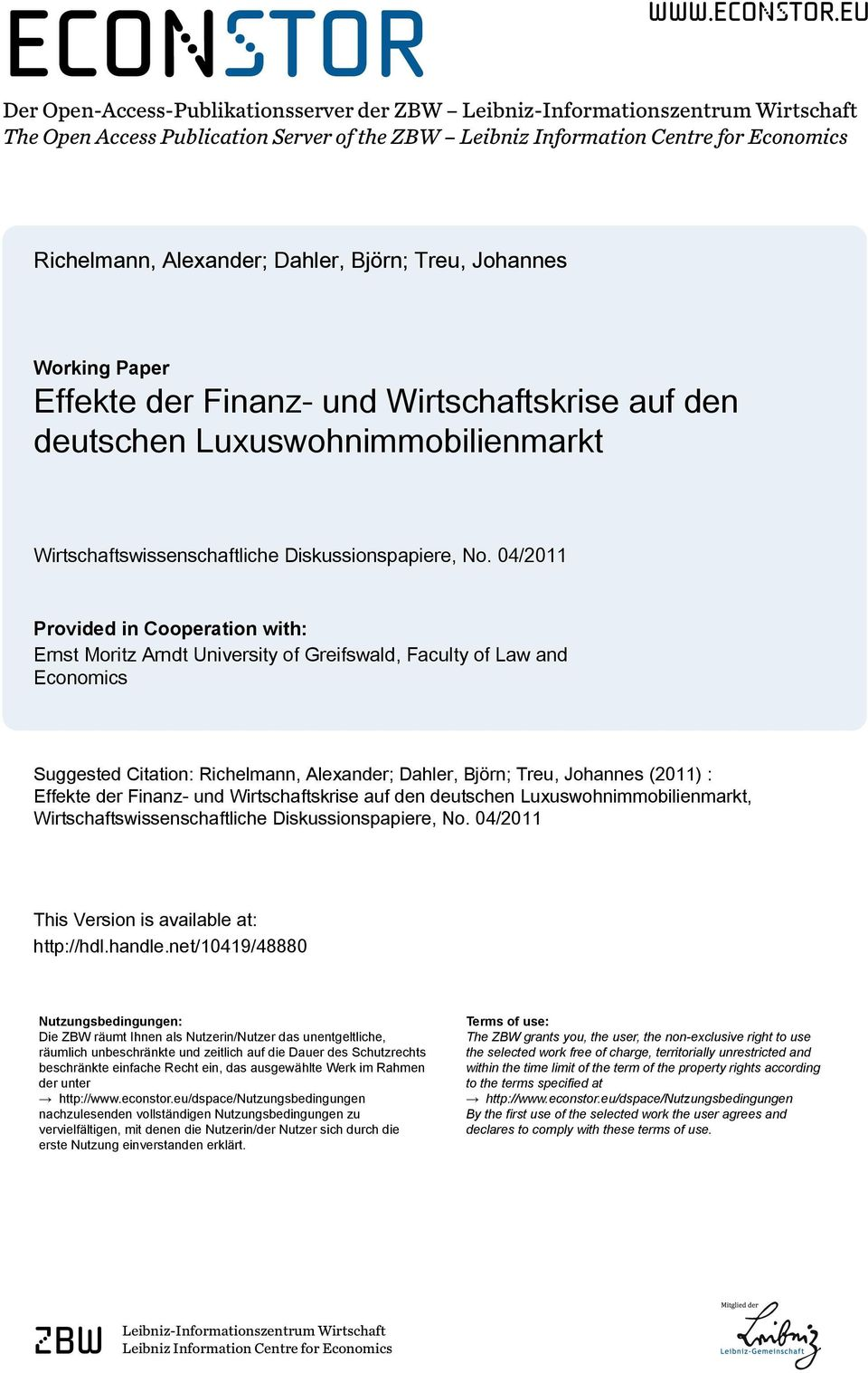 eu Der Open-Access-Publikationsserver der ZBW Leibniz-Informationszentrum Wirtschaft The Open Access Publication Server of the ZBW Leibniz Information Centre for Economics Richelmann, Alexander;