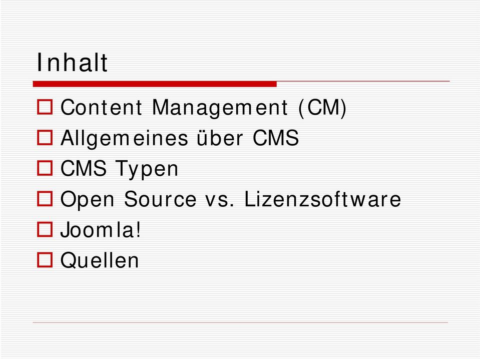 CMS Typen Open Source vs.