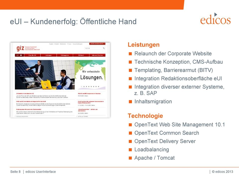 externer Systeme, z. B. SAP Inhaltsmigration Technologie OpenText Web Site Management 10.