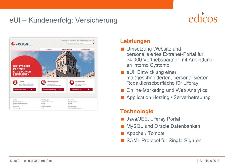 Redaktionsoberfläche für Liferay Online-Marketing und Web Analytics Application Hosting / Serverbetreuung Technologie