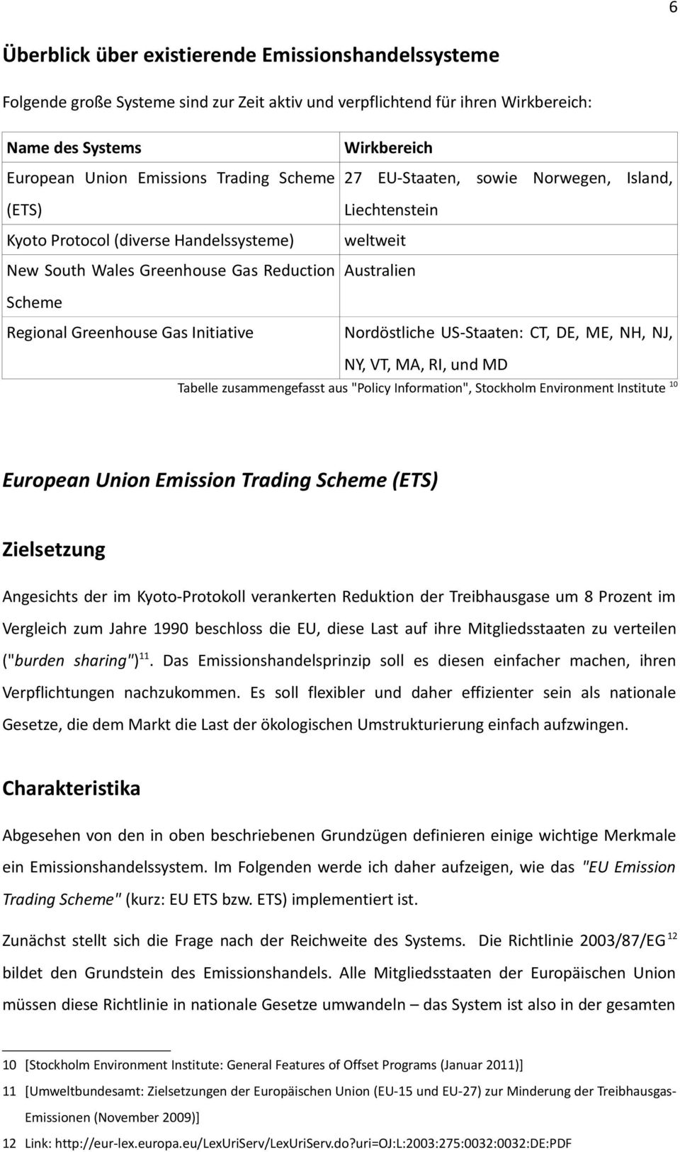"Gas Initiative Nordöstliche US-Staaten: CT, DE, ME, NH, NJ, NY, VT, MA, RI, und MD Tabelle zusammengefasst aus ""Policy Information"", Stockholm Environment Institute 10 European Union Emission Trading"