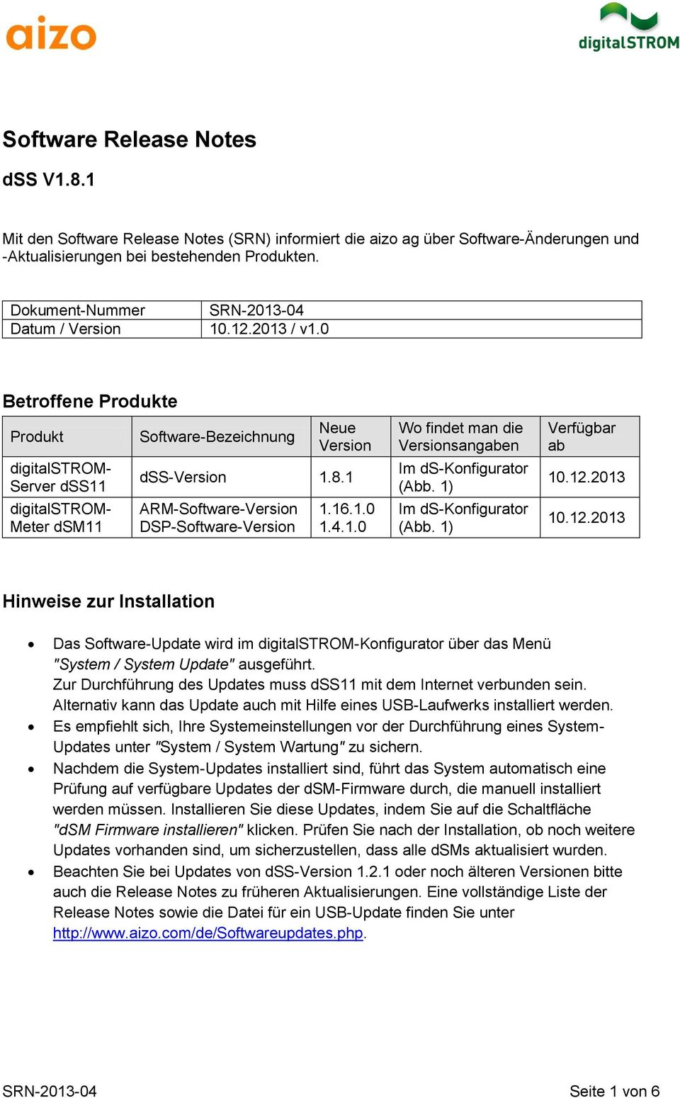 1 ARM-Software-Version DSP-Software-Version 1.16.1.0 1.4.1.0 Wo findet man die Versionsangaben Im ds-konfigurator (Abb. 1) Im ds-konfigurator (Abb. 1) Verfügbar ab 10.12.