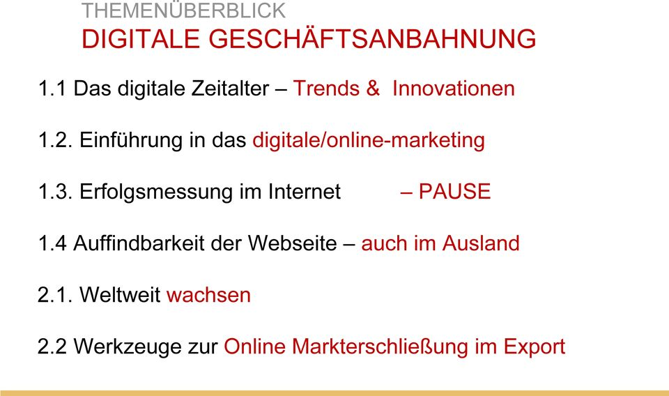 Einführung in das digitale/online-marketing 1.3.