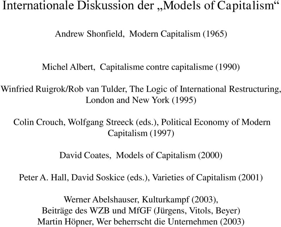 ), Political Economy of Modern Capitalism (1997) David Coates, Models of Capitalism (2000) Peter A. Hall, David Soskice (eds.