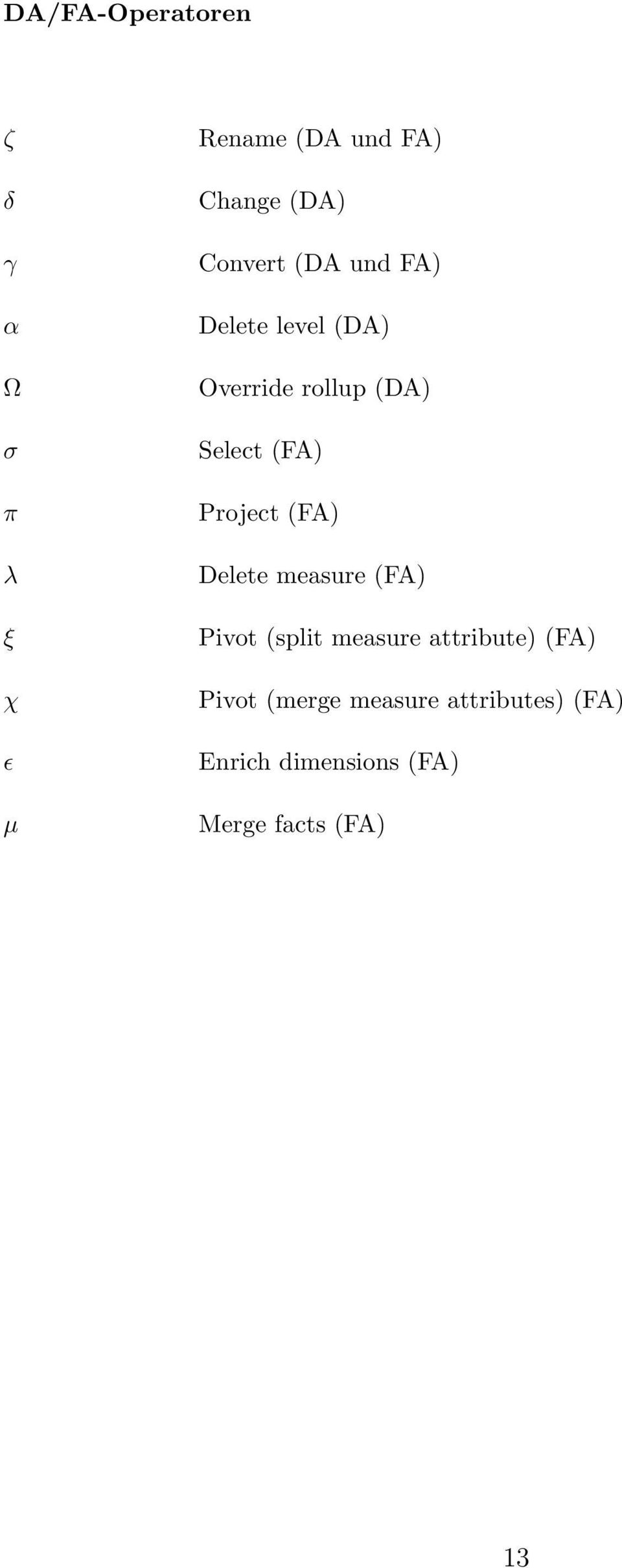 Project (FA) Delete measure (FA) Pivot (split measure attribute) (FA)