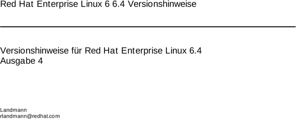 Versionshinweise für Red Hat