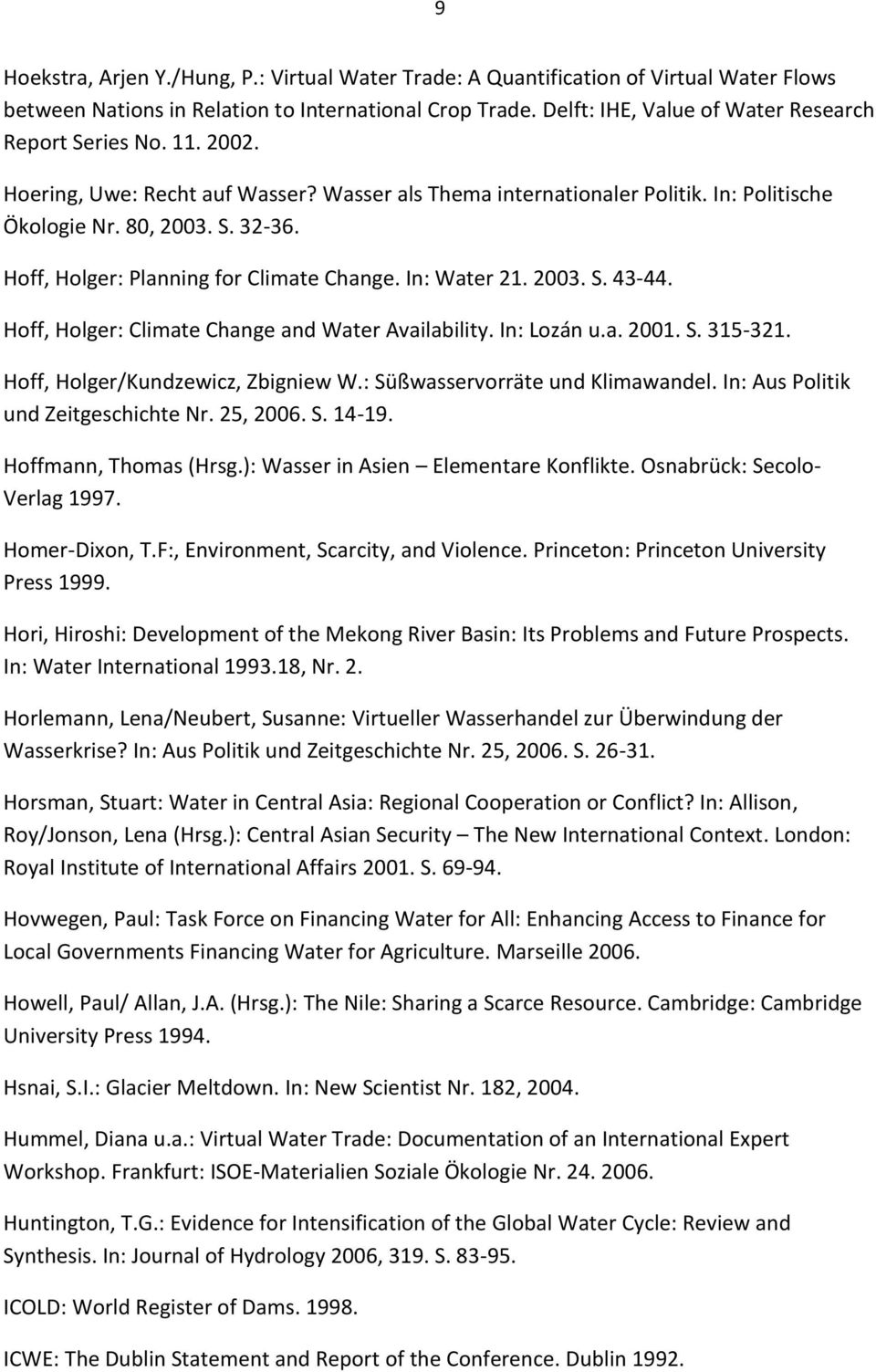 Hoff, Holger: Planning for Climate Change. In: Water 21. 2003. S. 43-44. Hoff, Holger: Climate Change and Water Availability. In: Lozán u.a. 2001. S. 315-321. Hoff, Holger/Kundzewicz, Zbigniew W.