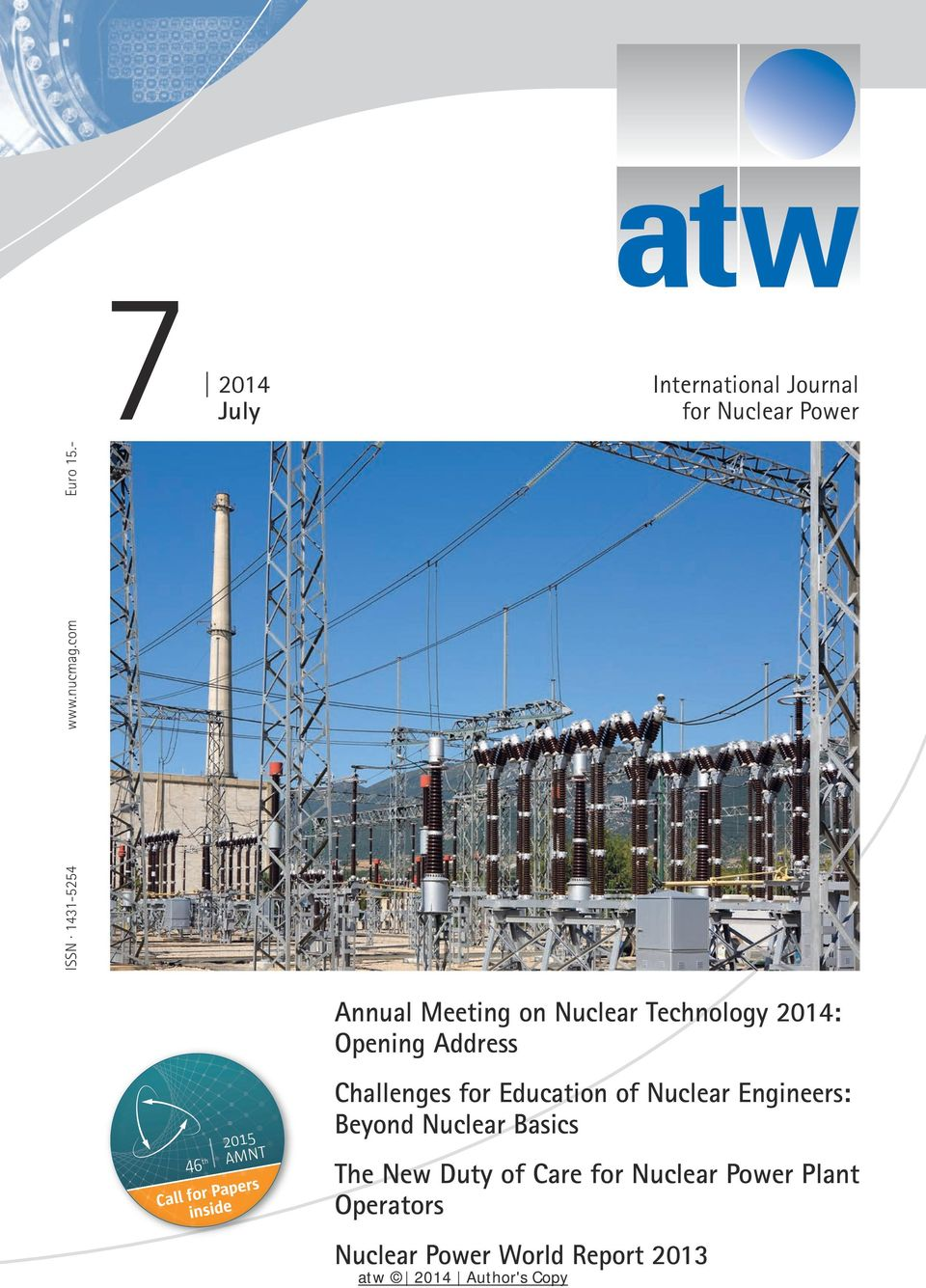 Annual Meeting on Nuclear Technology 2014: Opening Address Challenges for