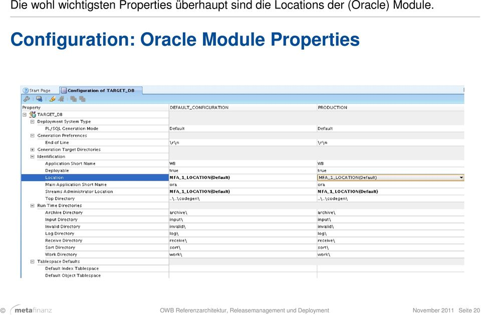 Configuration: Oracle Module Properties OWB