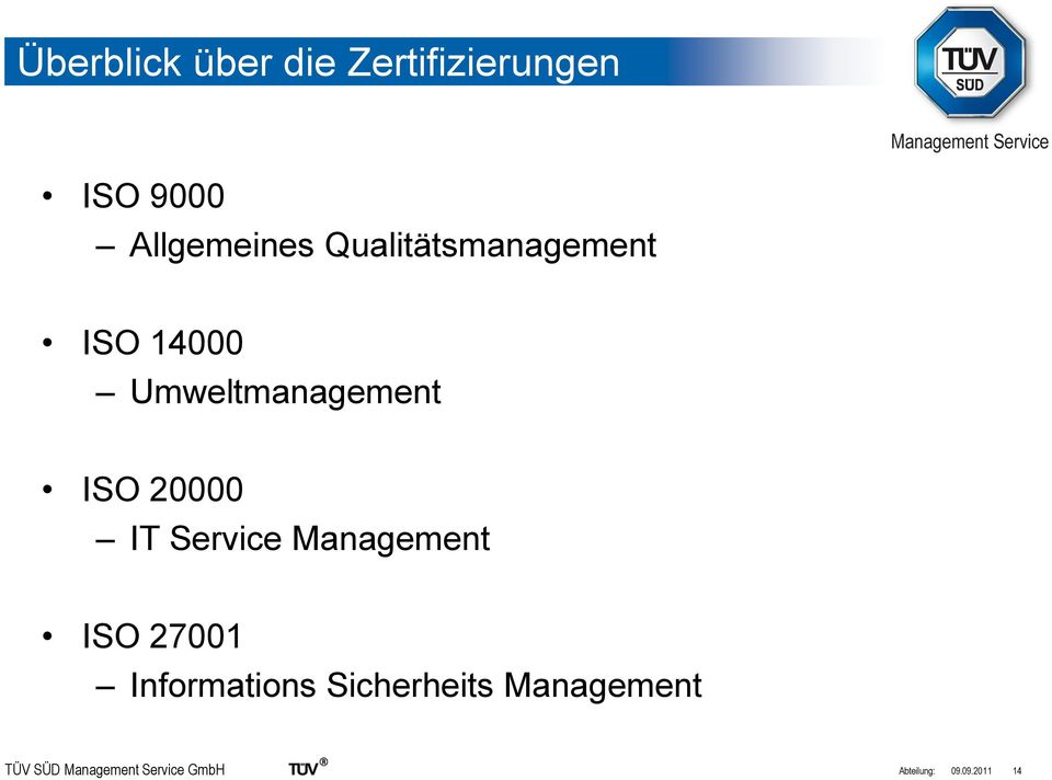 Service Management ISO 27001 Informations Sicherheits