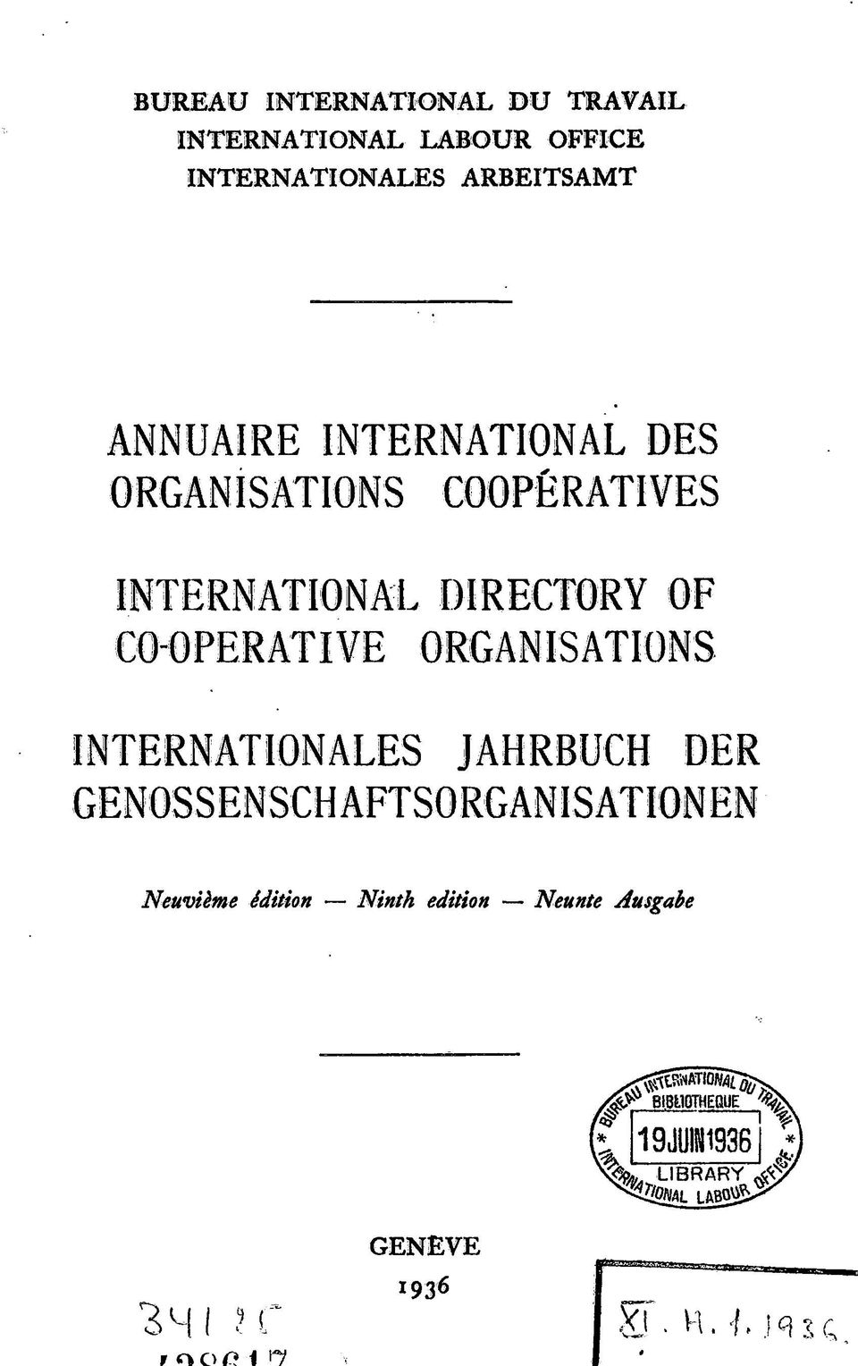 ORGANISATIONS COOPÉRATIVES INTERNATIONAL DIRECTORY OF
