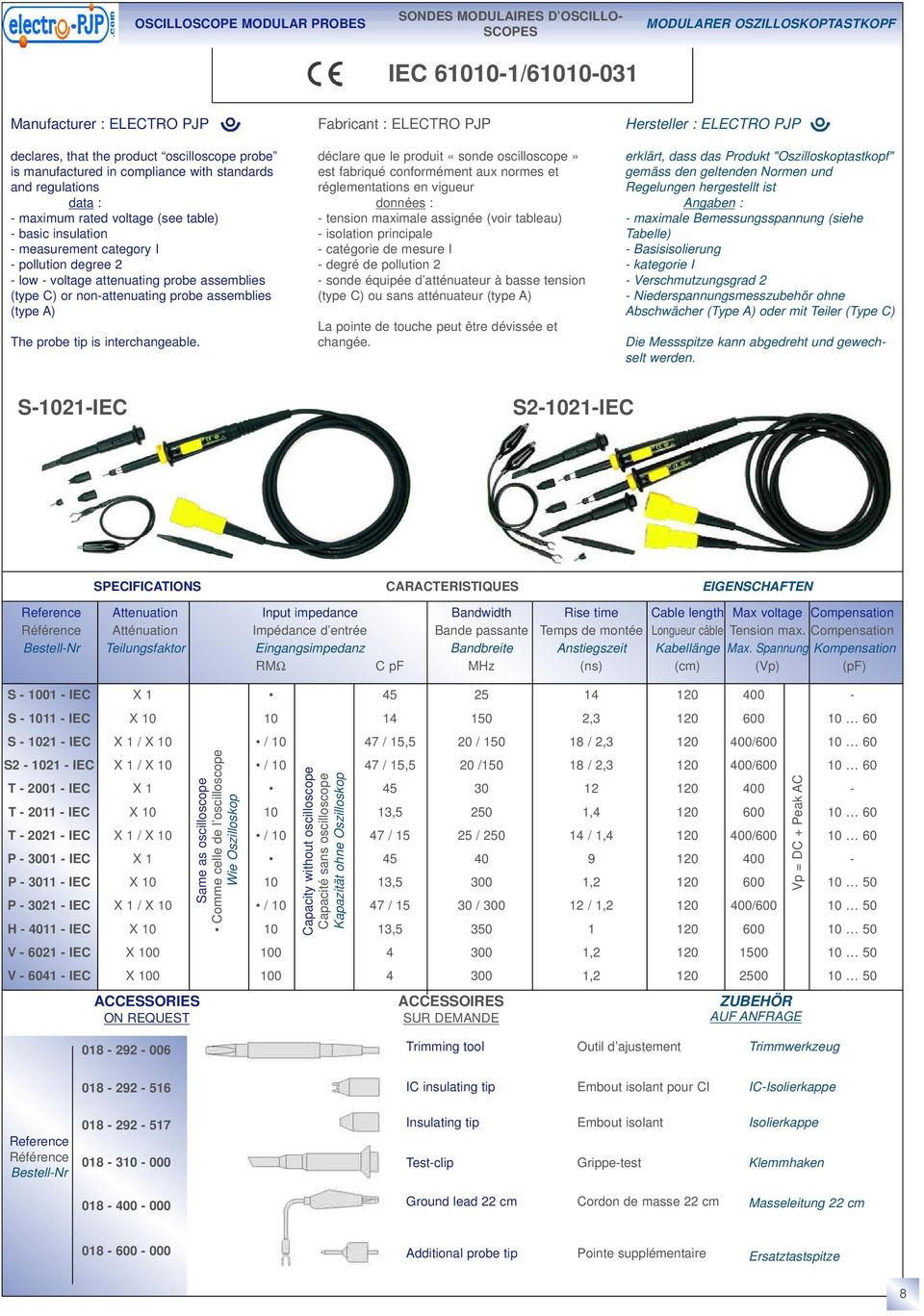 (type C) or non-attenuating probe assemblies (type A) The probe tip is interchangeable.