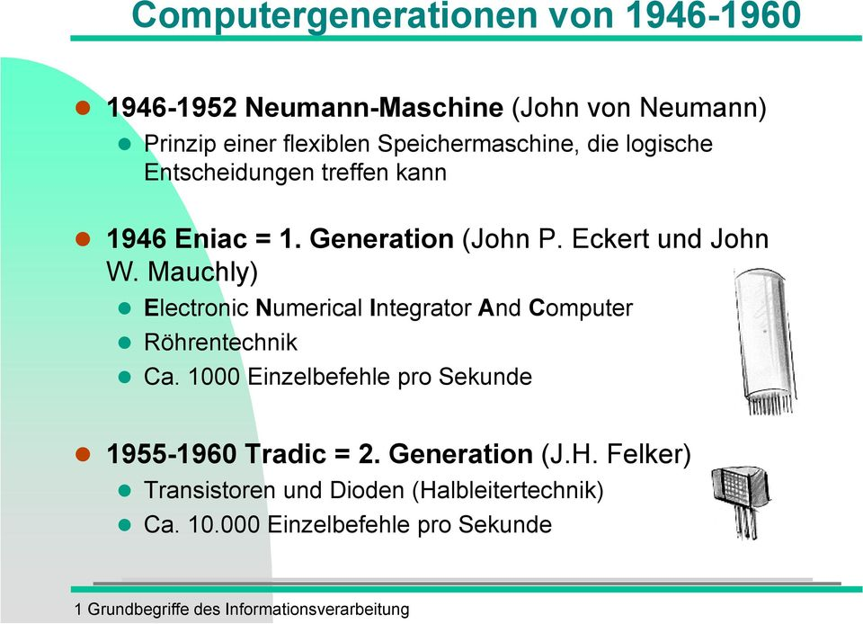 Mauchly) Electronic Numerical Integrator And Computer Röhrentechnik Ca.