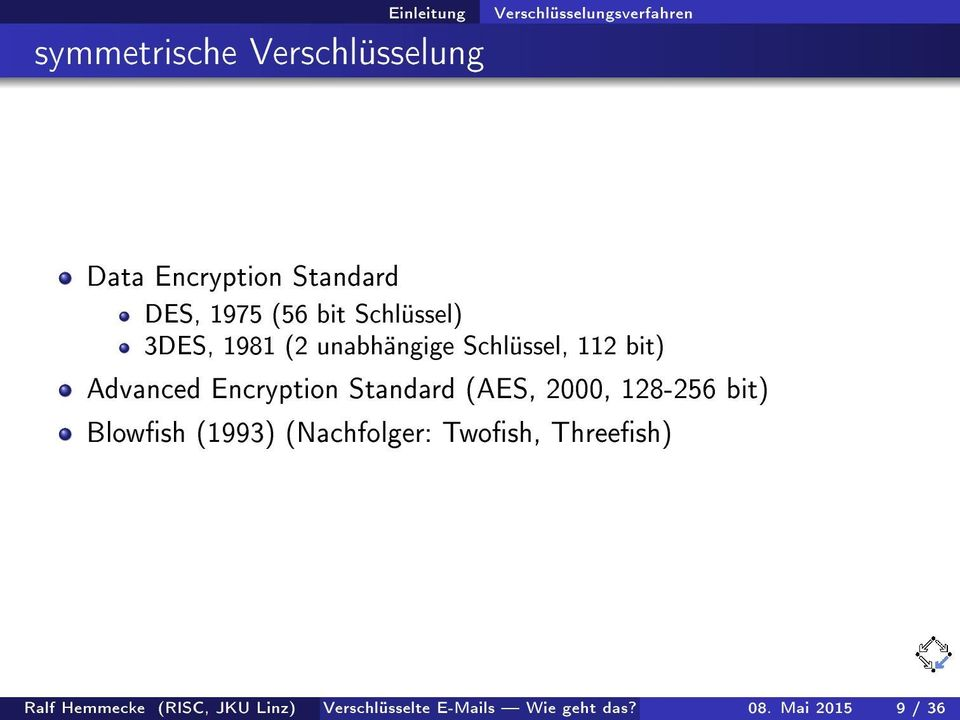 Advanced Encryption Standard (AES, 2000, 128-256 bit) Blowsh (1993) (Nachfolger: Twosh,