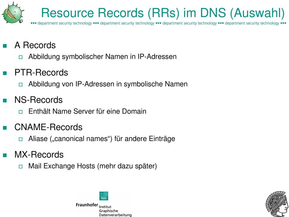 Namen NS-Records Enthält Name Server für eine Domain CNAME-Records Aliase (