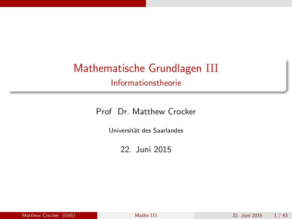 Matthew Crocker Universität des