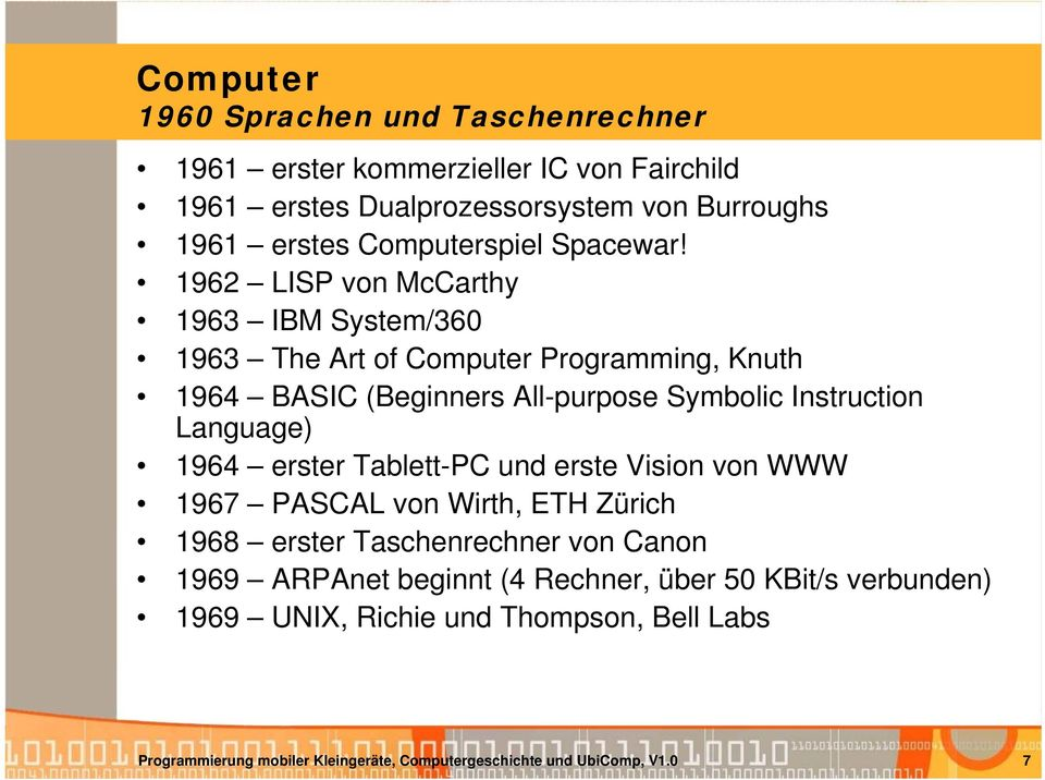 1962 LISP von McCarthy 1963 IBM System/360 1963 The Art of Computer Programming, Knuth 1964 BASIC (Beginners All-purpose Symbolic Instruction Language)
