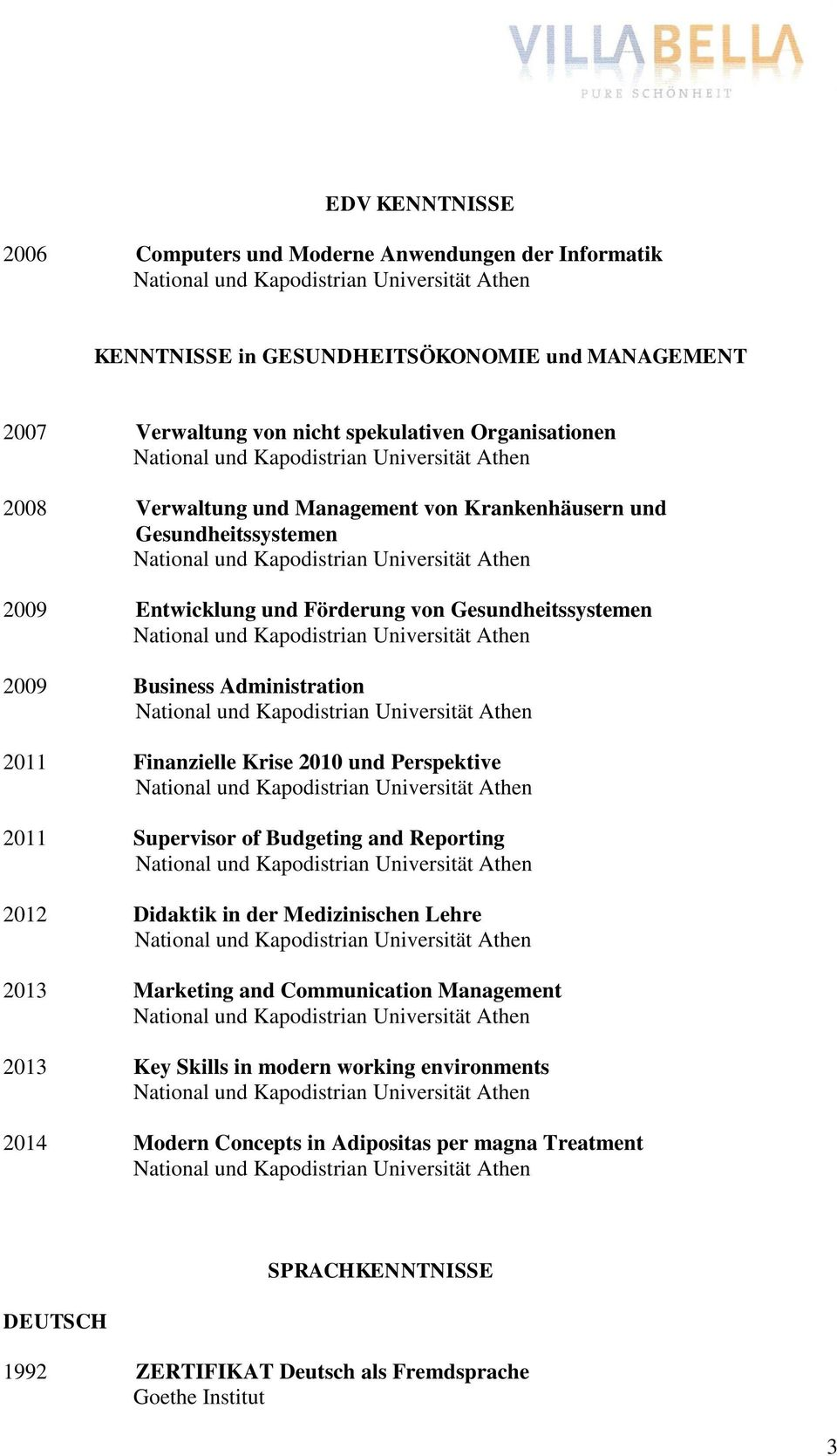 Finanzielle Krise 2010 und Perspektive 2011 Supervisor of Budgeting and Reporting 2012 Didaktik in der Medizinischen Lehre 2013 Marketing and Communication Management 2013