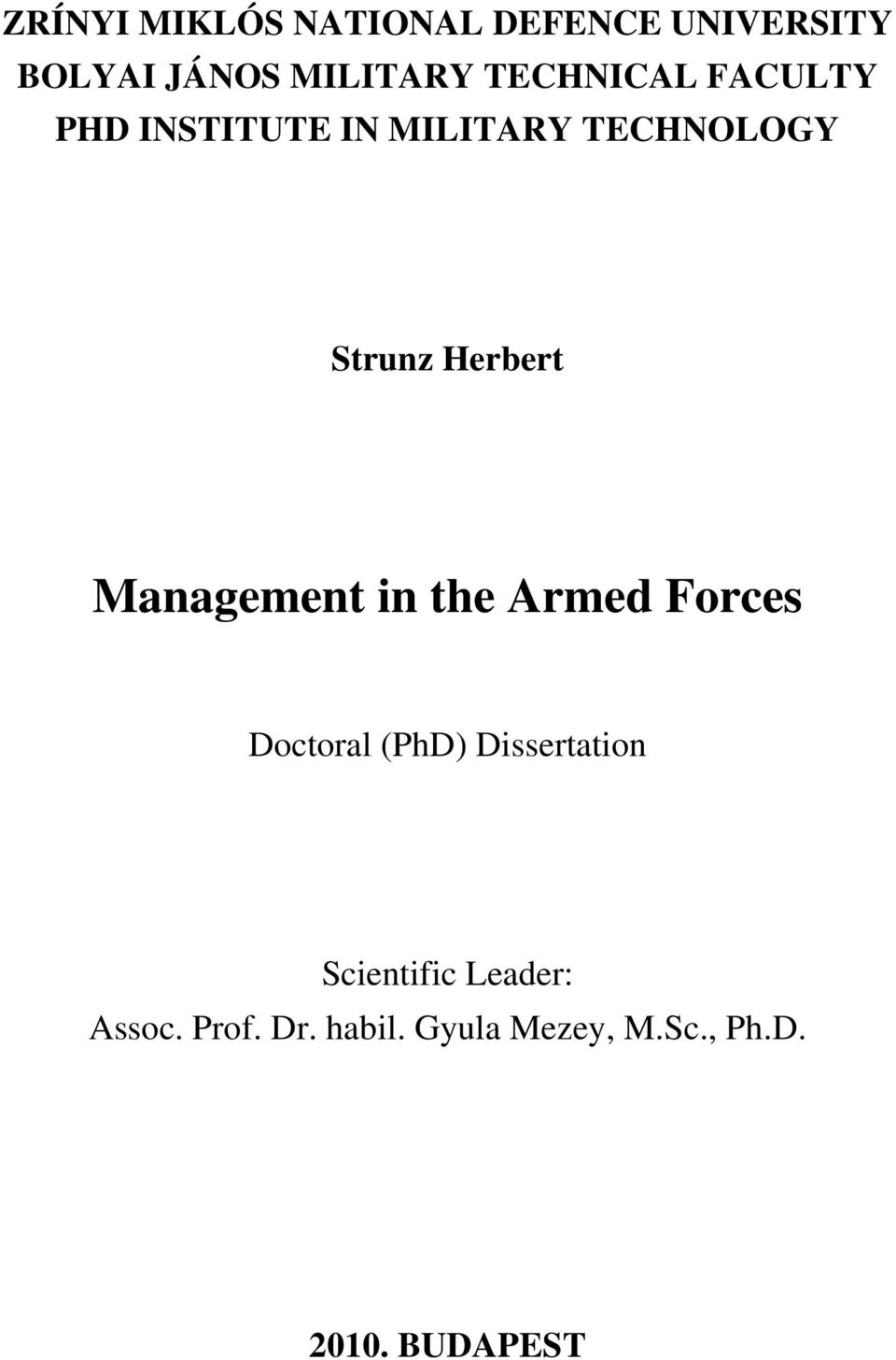 Herbert Management in the Armed Forces Doctoral (PhD) Dissertation