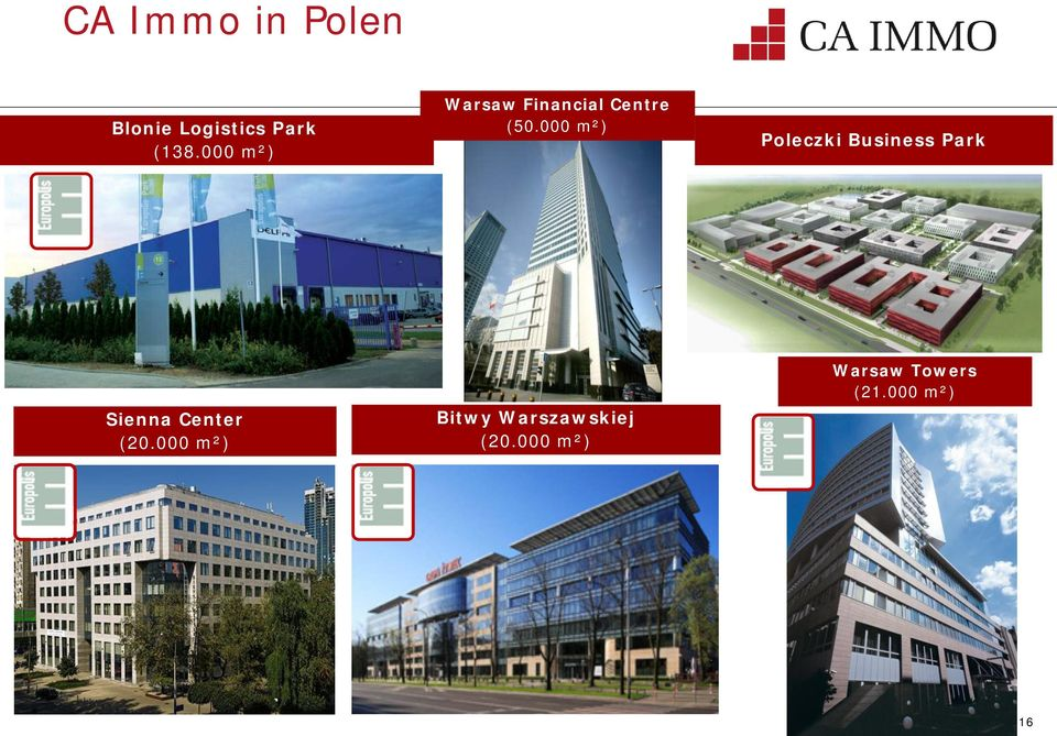 000 m²) Poleczki Business Park Sienna Center (20.
