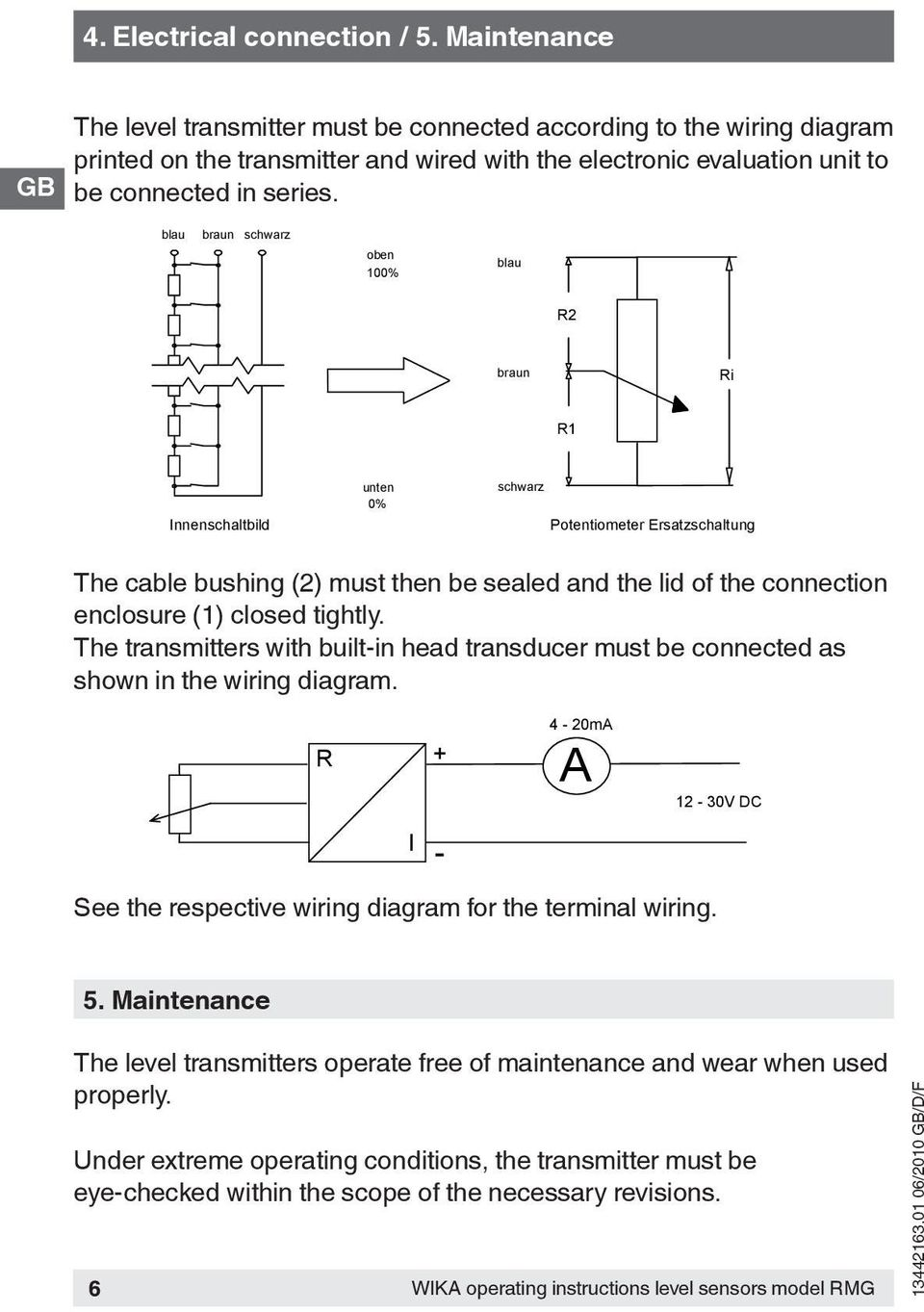 Operating Instructions Betriebsanleitung Mode D Emploi Pdf Level Transmitter Wiring Diagram Und Mit Der Nachzuschaltenden Auswerteelektro The Must Be Connected According To