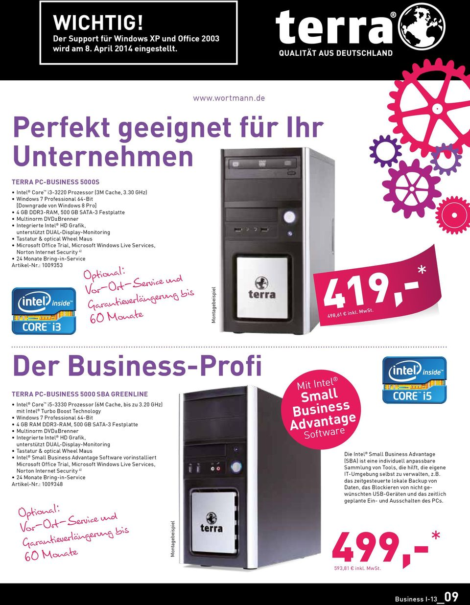 Microsoft Office Trial, Microsoft Windows Live Services, Norton Internet Security 4) 24 Monate Bring-in-Service Artikel-Nr.