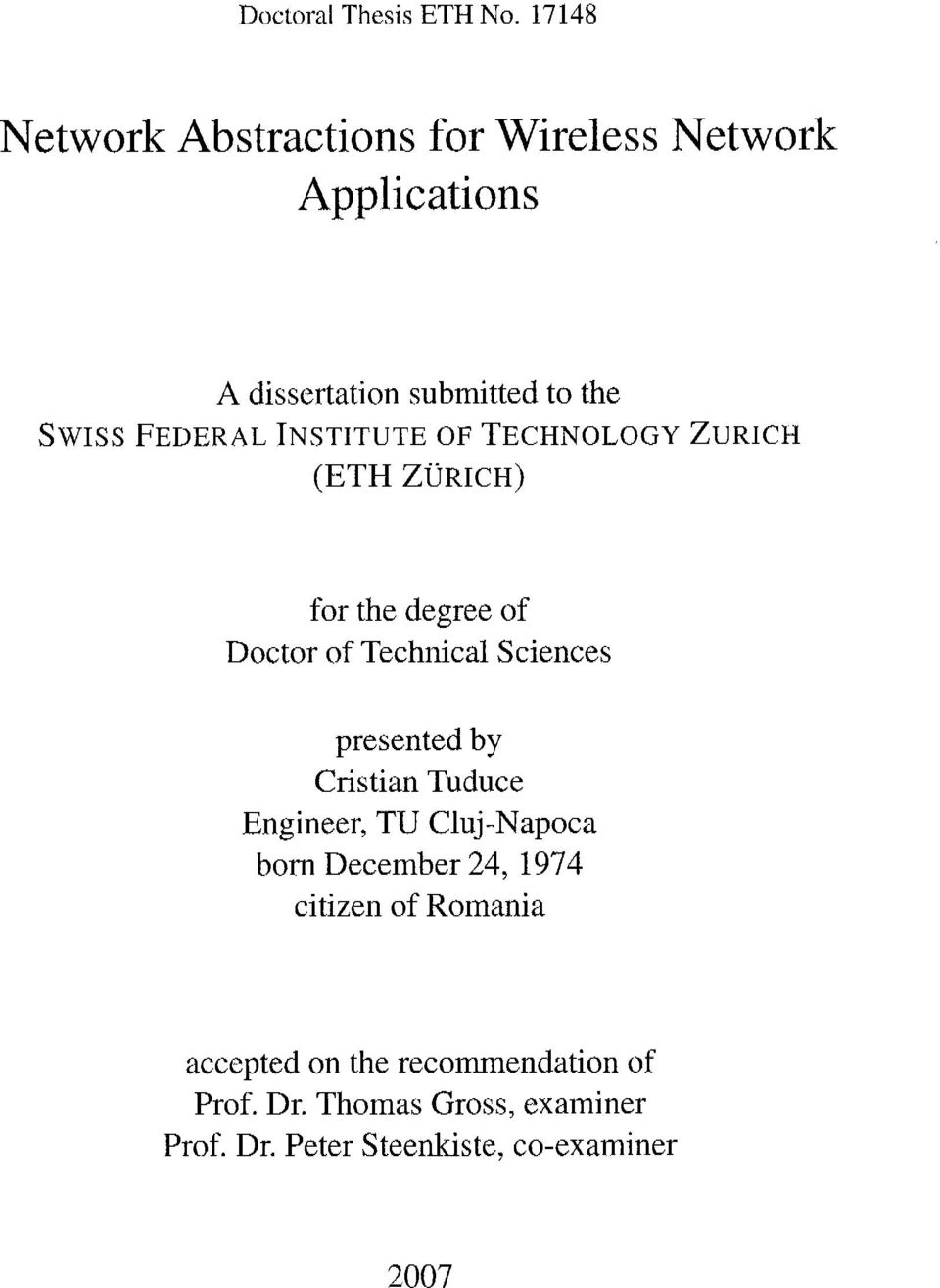 Institute of Technology Zürich (ETH ZÜRICH) for the degree of Doctor of Technical Sciences presented by