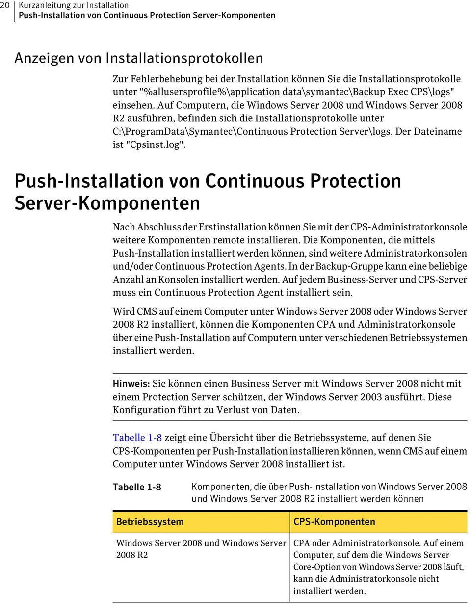 Auf Computern, die Windows Server 2008 und Windows Server 2008 R2 ausführen, befinden sich die Installationsprotokolle unter C:\ProgramData\Symantec\Continuous Protection Server\logs.