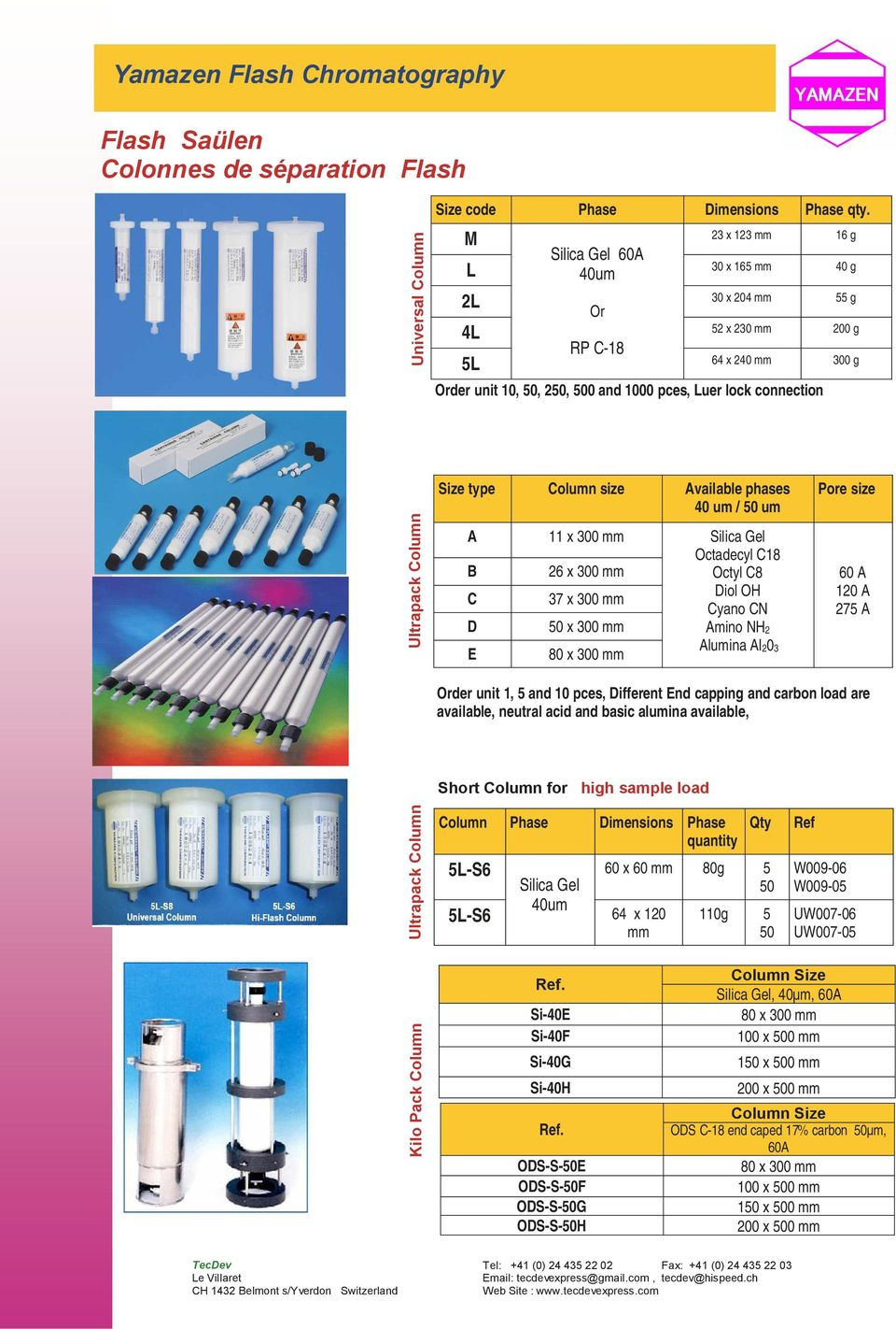 Pack Column Ultrapack Column Ultrapack Column Size type Column size Available phases 40 um / 50 um A B C D E Order unit 1, 5 and 10 pces, Different End capping and carbon load are available, neutral