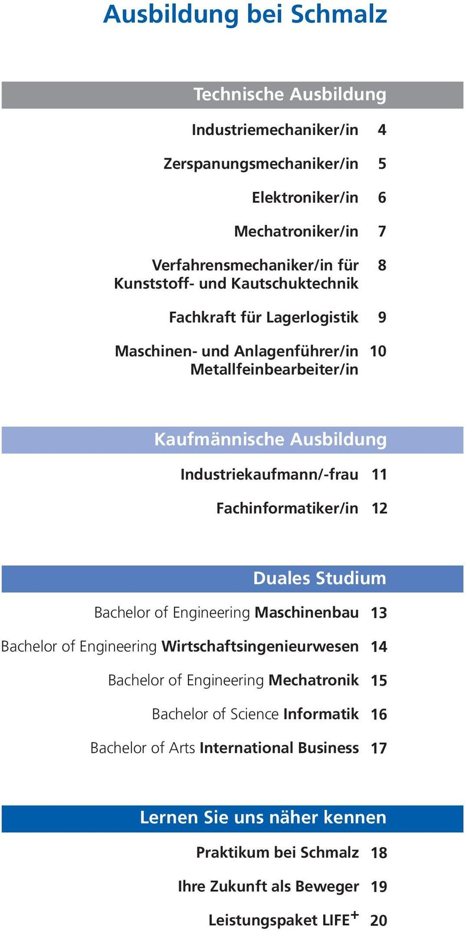 Fachinformatiker/in 11 12 Duales Studium Bachelor of Engineering Maschinenbau Bachelor of Engineering Wirtschaftsingenieurwesen Bachelor of Engineering Mechatronik Bachelor